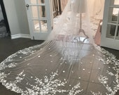 Floral Long Lace Veil;  Cathedral lace veil, flower veil, unique lace veil, floral cathedral veil, leaf veil