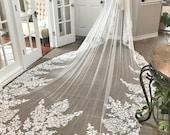 Custom Royal Length Veil, Drop style veil, Mantilla Style Veil, Lace edge Veil, Long veil, Long bridal Veil, Unique Lace veil, Custom Veil