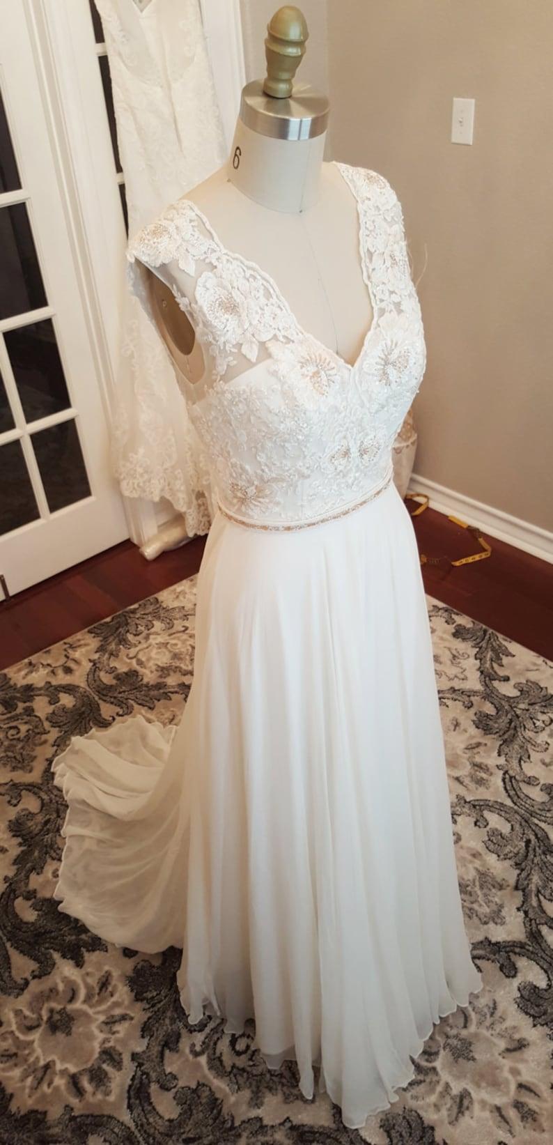 Image 0: Gold Applique Wedding Dress At Reisefeber.org