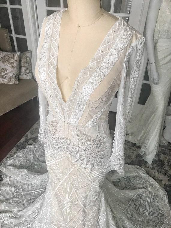 Natalia Nude Geometric Lace Art Deco Wedding Dress Full Etsy