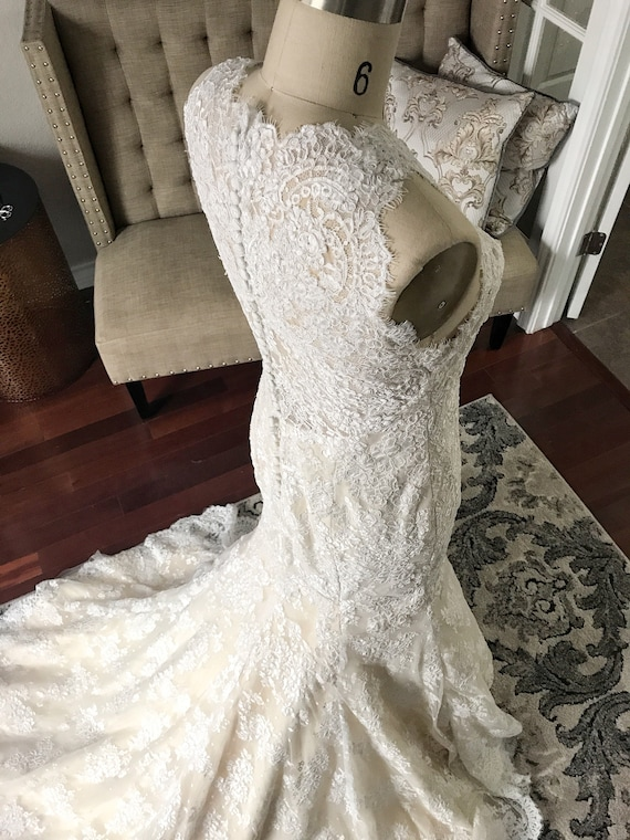 Kim Champagne And Ivory Vintage Chic Wedding Dress Rustic Etsy