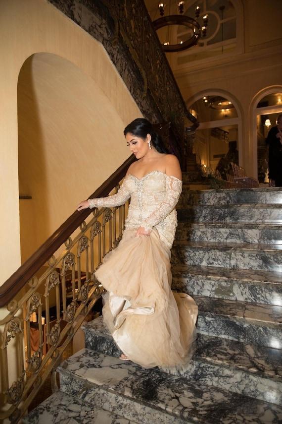 Moonstone Gold Lace Wedding Dress Off The Shoulder Wedding Etsy