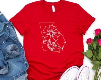 Georgia Shirt, Georgia State Flower Shirt, Georgia State, Georgia Pride Shirt, Georgia Spring Shirt, Floral Georgia Shirt, Georgia Flowers