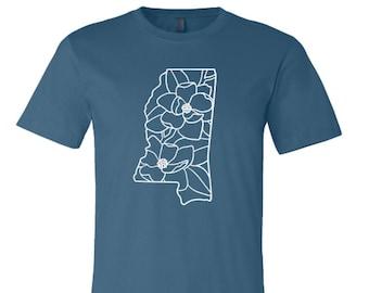Mississippi Shirt, Mississippi Magnolia Shirt, Mississippi State, Mississippi Pride Shirt, Mississippi Spring Shirt, Floral Mississippi