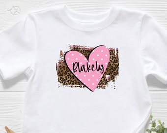 Monogrammed Girl/'s Heart Shirt Pink and White Girl/'s Personalized Valentine/'s Day Train Shirt