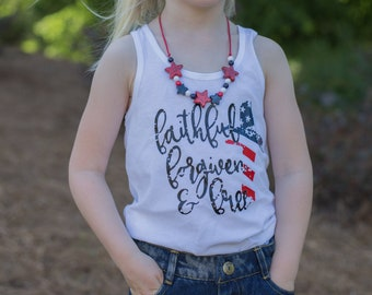 Patriotic Shirt | July 4th Shirt | Memorial Day Shirt | Patriotic Shirt for Girls | Christian Shirt | Red White and Blue | American Flag