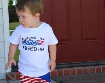 Boys Patriotic Shirt | July 4th Shirt | Memorial Day Shirt | Fast Cars and Freedom| Red White and Blue | American Flag | Car Shirt