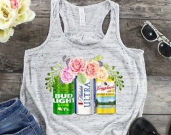 Womens Tank | Floral Beer Cans Tank | Womens Beer Shirt | Women's Summer Tank | Summer Tank | Flowers in Beer Cans Tank | Beer Lime Sunshine