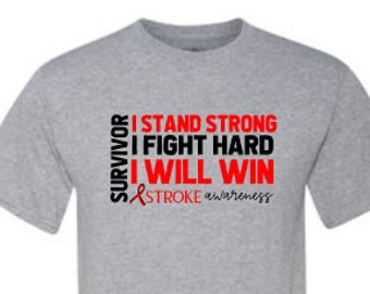 Stroke Awareness Shirt | Stroke Survivor Shirt | Stroke Shirt | I Will Win Red Ribbon Shirt| Keep Fighting | Stroke Recovery Shirt |