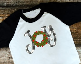 Christmas Shirt for Kids | Womens Christmas Shirt | Girls Christmas Shirt | Joy Christmas Shirt | Buffalo Plaid Joy | Buffalo Plaid Wreath