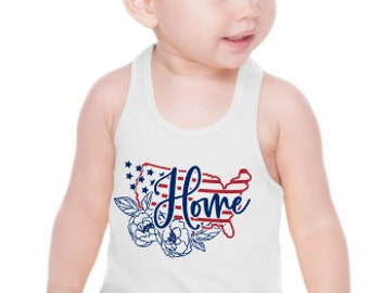 Girls July 4th Tank | USA Home Tank | Floral USA tank | Girls July 4th Shirt | Patriotic Girls Tank | Red White and Blue Tank | Foral July 4