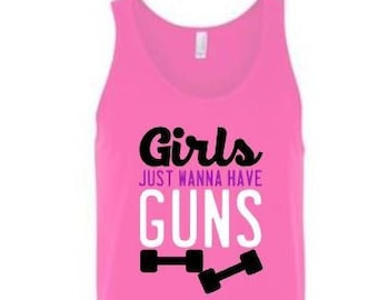 Womens Tank Top | Funny Workout Tank | Work Out Tank for Women | Girls Just Wanna Have Guns | Tank Top | Racer back tank | Gym Humor