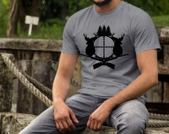 Fathers Day shirts | Hunting Shirt | Rifle and Crosshairs Shirt | Deer Hunter Shirt | Fathers Day Gifts | Mens Hunting Shirt | Gifts for Hun