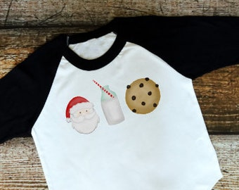 Christmas Shirt for Kids | Girls Christmas Shirt | Boys Christmas Shirt | Santa Milk and Cookies | Milk and Cookies for Santa | Christmas Ev