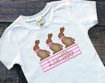 Girls Easter Shirts | Easter Shirts for Girl | Personalized Easter Shirt | Monogrammed Easter Shirt | Chocolate Bunny Shirt | Pink Easter