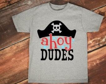 Summer shirt for boys   boys pirate shirt   boys summer shirt   ahoy dudes   pirate shirt for boys   pirate birthday shirt   beach shirt boy