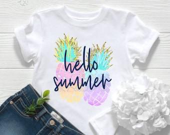 Hello Summer shirt   Girls Summer Shirt  Womens Summer Shirt   Pineapple Shirt   Summertime Shirt   Rainbow Pineapple Shirt   Summer shirt