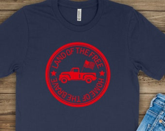 Kids Patriotic Shirt | July 4th Shirt | Memorial Day Shirt | Land of the Free Home of the Brave Shirt | Truck with Flag Shirt | July 4th Tru