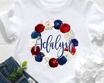 Patriotic Shirt | July 4th Shirt | Memorial Day Shirt | Red White and Blue Floral Wreath Monogram | Patriotic Monogram Shirt | Red White Bl