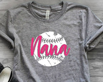 Baseball shirts | Baseball Nana Shirt | Baseball Shirts for Women | Game Day Shirt |  Vintage Tee | Baseball Grunge Tee | Baseball Nana