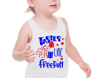 Kids Patriotic Tank | July 4th Shirt | Memorial Day Shirt | Unisex Patriotic Tank | Bomb Pop Shirt | Tastes Like Freedom | Patriotic Popsicl