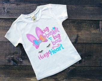 Girls Easter Shirts | Easter Shirts for Girls | Bunny Easter Shirt | Big Basket Big Bow Huge Heart | Girly Easter Shirt | Bunny With Bow