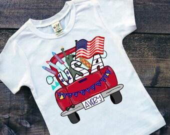 Patriotic Shirt | July 4th Shirt | Memorial Day Shirt | July 4th Truck Shirt | Personalized July 4th Shirt | Patriotic Truck Shirt | Monogra