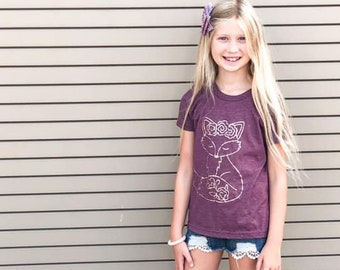 Girls Fall Shirt, Floral Fox Shirt, Rose gold Fox Shirt, Rose Gold Fall Shirt, Floral Woodland Creatures, Maroon and Rose Gold, Fall Fox Shi