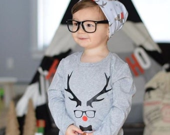 Boys Christmas Shirt | Christmas Shirt for Boys | Holiday Boys Shirt | Baby Boy Christmas Outfit | Hipster Reindeer | Rudolph Shirt