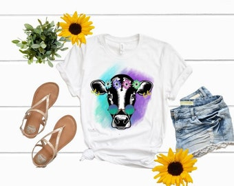 Hippie Cow shirt | Girls Summer Shirt| Womens Summer Shirt | Floral Cow Shirt | Cow With Floral Crown Shirt | Summer shirt | daisy crown shi