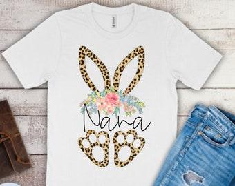 Easter Shirt for Women | Women's Easter Shirt | Nana Easter Shirt | Leopard Bunny Nana Shirt | Personalized Easter Shirt | Easter Nana Shirt