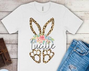 Easter Shirt for Girls | Girls Easter Shirt | Kids Easter Shirt | Leopard Bunny Girls Shirt | Personalized Easter Shirt | Monogram Easter