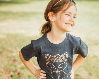 Girls Fall Shirt, Floral Fox Shirt, Rose gold Fox Shirt, Rose Gold Fall Shirt, Floral Woodland Creatures, Navy and Rose Gold, Fall Fox Shirt