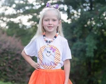 Girls Halloween Shirt, Girl Ghost Shirt, Personalized Halloween Shirt, Ghost with Bow Shirt, Halloween Girls Shirt, Monogram Halloween Shirt