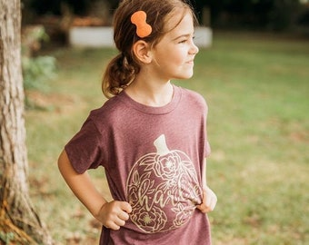 Girls Fall Shirt, Girls Pumpkin Shirt, Personalized Pumpkin Shirt, Floral Pumpkin Shirt, Fall Girls Shirt, Monogram Pumpkin Shirt, Pumpkin