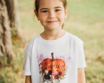 Girls Fall Shirt, Girls Pumpkin Shirt, Personalized Pumpkin Shirt, Floral Pumpkin Shirt, Fall Girls Shirt, Monogram Pumpkin Shirt, Pumpkin