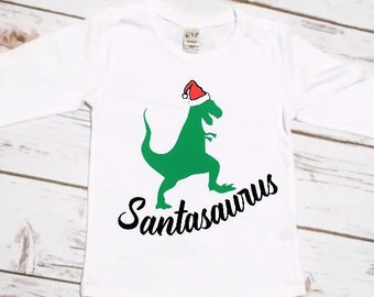 Christmas Shirt for Boys | Funny Christmas Shirt | Dinosaur Christmas Shirt | TRex Christmas Shirt | Santasaurus Shirt | Christmas Dinosaur