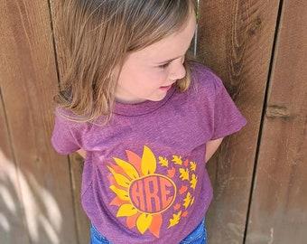 Girls Fall Shirt, Fall Monogram Shirt, unflower Fall Shirt, Sunflower Monogram Shirt, Fall Girls Shirt, Monogram Sunflower Shirt, Leaves