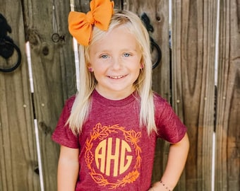Girls Fall Shirt, Fall Monogram Shirt, Personalized Fall Shirt, Leaf Monogram Shirt, Fall Girls Shirt, Monogram Pumpkin Shirt, Leaf Wreath