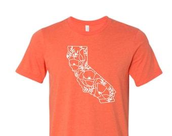 California Shirt, California Poppy Shirt, California State, California Pride Shirt, California Spring Shirt, Floral California, Golden Poppy