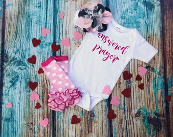 Infant Baby Girl Bodysuit | Answered Prayer | Coming Home Outfit | Baby Shower Gift | Christening Baptism Outfit