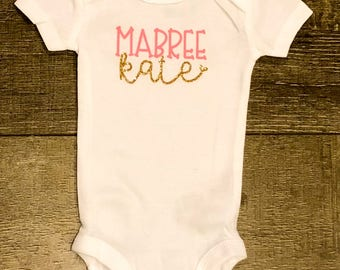 Coming Home Outfit | Baby Shower Gift | Monogram Outfit | Baby Girl Name Outfit | Personalized Bodysuit | Birth Announcement | Personalized