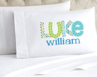 Personalized Pillow Case | Monogrammed Pillow Case | Faux Applique Pillow | Christmas Gift for Kids | Stocking Stuffer | Name Pillow Case