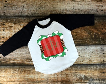 Christmas Shirt for Kids | Womens Christmas Shirt | Girls Christmas Shirt | Christmas Monogram Plaque | Christmas Raglan with Monogram