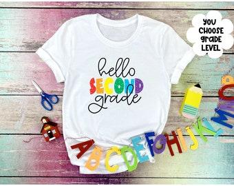 Back to School Shirt, Girls Back to School Shirt, First Day of School, Rainbow Hello School Grade Level Shirt, Girls First Day of School Shi