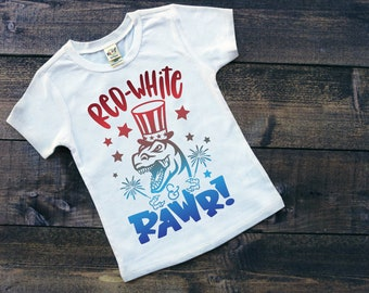 Kids Patriotic Shirt | July 4th Shirt | Memorial Day Shirt | Red White Rawr | Patriotic Dinosaur Shirt | July 4th Dinosaur Shirt | Red Whit