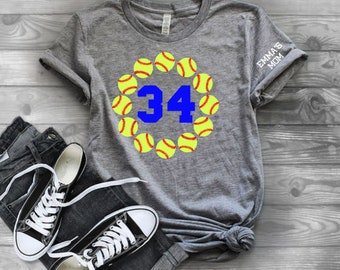 Softball shirts | Softball Number Shirt | Softball Shirts for Women | Womens Softball Shirt | Kids Softball Shirt | Softball Mom | Softball