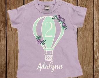 Birthday Shirt | Hot Air Balloon Birthday Shirt | Personalized Birthday Shirt | Vintage Hot Air Balloon Birthday | Floral Hot Air Balloon |
