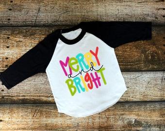 Christmas Shirt for Kids | Womens Christmas Shirt | Girls Christmas Shirt | Merry and Bright | Merry and Bright Raglan | May Your Days Be Me