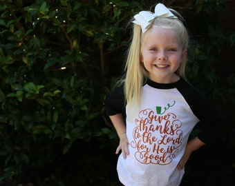 Girls Fall Shirt | Girls Thanksgiving Shirt | Girls Pumpkin Shirt | Christian Girls Shirt | Give Thanks | Girls Thanksgiving Outfit |